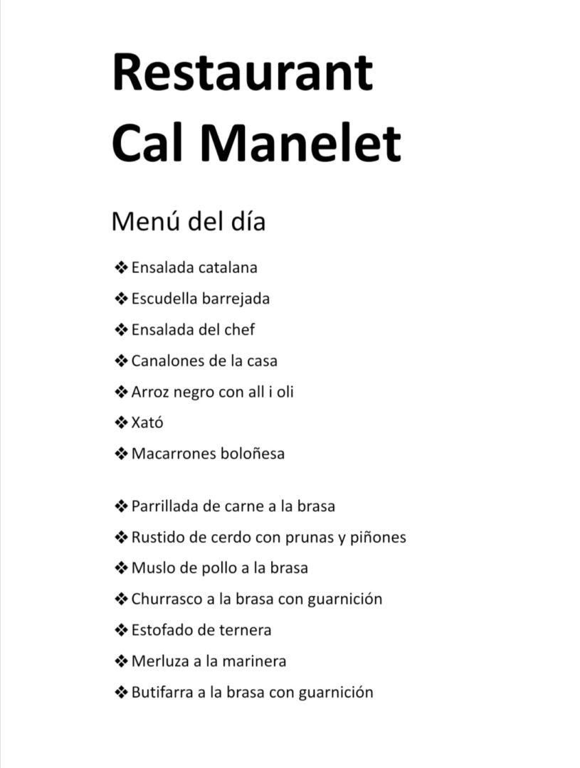 menu del dia restaurant a Canyelles